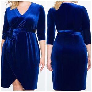 NWT Eloquii Blue Velour Wrap Dress